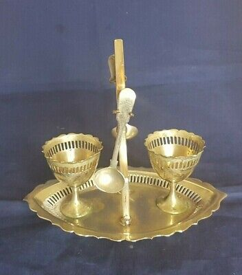 Beautiful Antique Silver Plated Egg Cup and Spoon Set with Stand