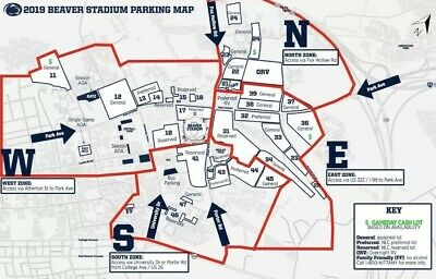 (1) Parking Pass General Lot 34 Penn State vs Rutgers (11/30/19) Free Shipping!