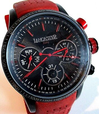 Exclusive 'Lancaster' Italian Chronograph Watch - Black Dial - Red Leather Strap