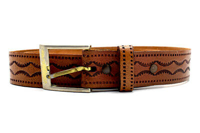 Vintage Hand Made Mens Womens Leather Belt Brown Size 32
