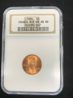1995 Lincoln Cent Double Die Obverse NCG MS68 Red ERROR COIN