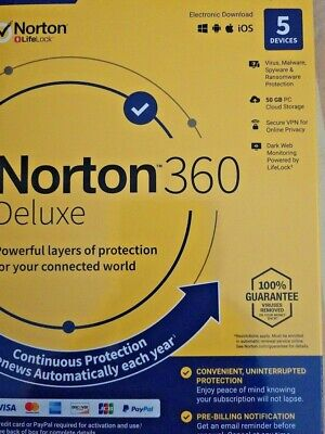 Norton 360 Deluxe 5 Devices 1 Year Android Mac Win iOS [VPN, 50GB Cloud Backup ]