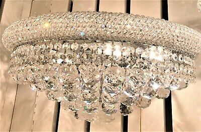 French Empire Primo 4 Light  20 inch Royal Cut Crystal Wall Sconce Large Wide
