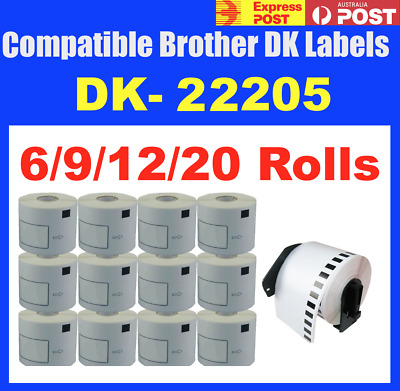 6 to 20 Rolls Compatible Brother DK-22205 Address Labels QL570 QL700 QL1050