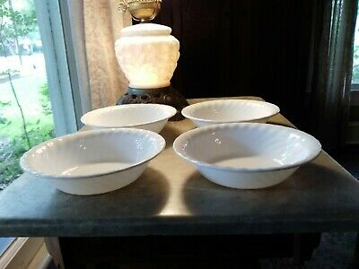 "4 CORELLE White Swirl Enhancements - 7 1/4"" Soup Cereal Bowls"