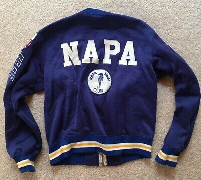 Napa Swim Club Vintage Jacket Swim Pins Youth Sz Sm Full Zip 1972 Olympics Pin