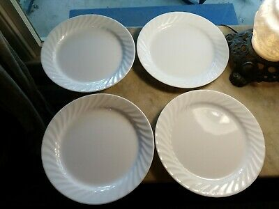 "4 Corelle Solid White Swirl Enhancements 10 1/4"" Dinner Plate Plates"
