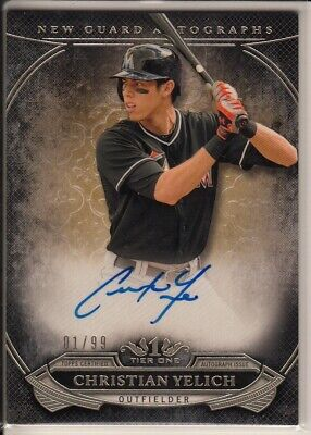 Christian Yelich autographed 2015 Topps Tier 1 card 1/99