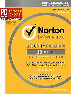 Norton Security Premium 10 Devices 1 Year 2019
