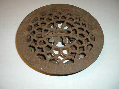 Heat Grate Register Vintage Victorian Cast Iron  Round Floor Vent