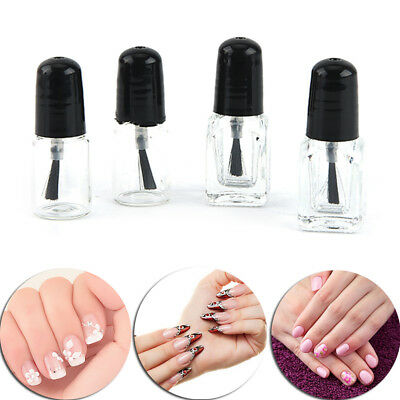2ml/3ml Empty Nail Polish Clear Glass Bottle Storage Container with Black CapSR