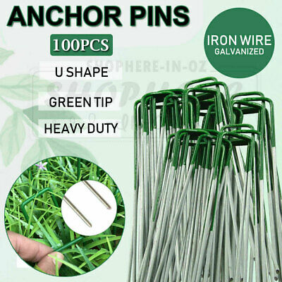 100x Lawn Anchor U Tent Pegs Weed Mat Fastening Turf Pins Fake Synthetic Grass