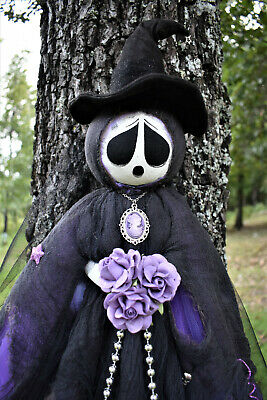 "OoaK Primitive HALLOWEEN Folk Art Tattered Witch Ghost Doll ~ 50"" Poppywise"