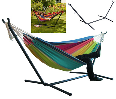 Hammock & Steel frame Stand Garden Outdoor Bed Swing Chair Camping
