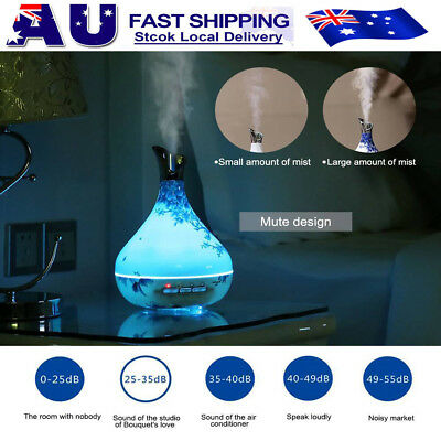 LED Sensor Ultrasonic Aroma Humidifier Essential Oil Diffuser Aromatherapy 300ml