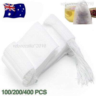 UP 400X Disposable Tea Bags Empty Drawstring Seal Filter Tea Bags for Leaf Tea
