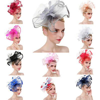 Feather Floral Hair Clip Headpiece Fascinator Women Wedding Party Prom