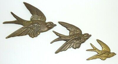 Vintage Brass Set 3 Wall Hanging Graduated Flying Birds Swallows MCM Plaque