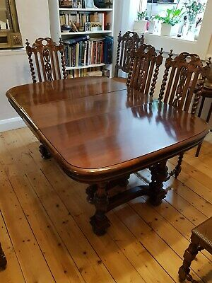 Victorian dining room table and 10 chairs