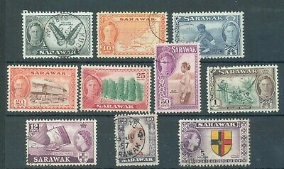 Sarawak 1950-57 ten different with values to $5 used
