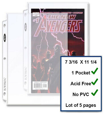 5 BCW Current / Silver Comic Book Pages Archival Quality For 3 Rings Binders