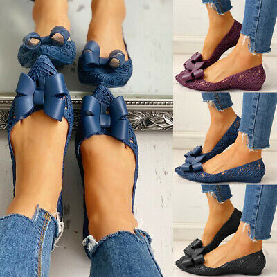 Women Jelly Hollow Bow Sandals Ladies Casual Slip On Flat Comfy Shoes Size 4-6.5