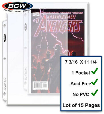 15 BCW Current / Silver Comic Pages Archival Quality For 3 Rings Binders Albums