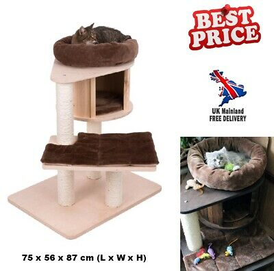 Mini Cat Tree Kitty Snuggle Bed Pet Scratch Post Tower Cozy Den Condo Furniture