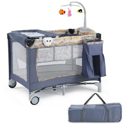 Folding Baby Crib Travel Infant Cot Playpen With Toys Portable Gray Bed Changer 115 43 Picclick