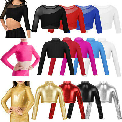 Girls Sleeved Crop Top Kids Gymnastics Ballet Jazz Dance Tank Tops Stretch Shirt