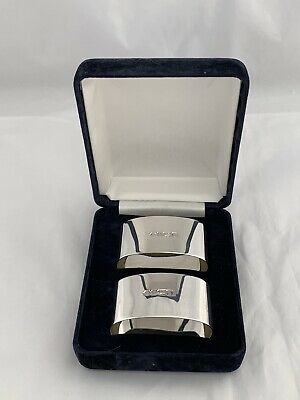 Pair Of Solid Silver Napkin Rings In Case 1995 Sheffield CARRS Sterling Silver