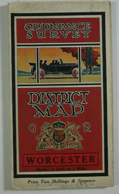 1924 OS Ordnance Survey One-Inch District Special Popular Edition Map Worcester