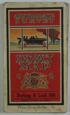 1929 Old OS Ordnance Survey One-Inch District Tourist Map Dorking & Leith Hill