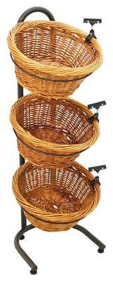 3 Tier Basket Display Produce Rack Vegetable Stand w/ Sign Clip Wicker Baskets