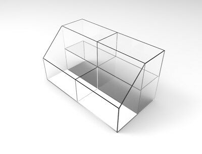 Medium Double Wide Tiered Acrylic Bin Plexiglass Lucite Candy Divide Bin Display