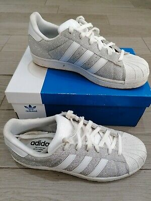 huge discount 46de7 76fea ADIDAS SUPERSTAR TRAINERS SILVER WHITE GLITTER Size 6 womens