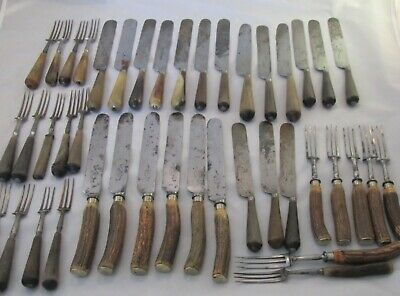 Large Job Lot of Early 19th Century Cutlery with Wooden / Bone Handles 42 Pieces
