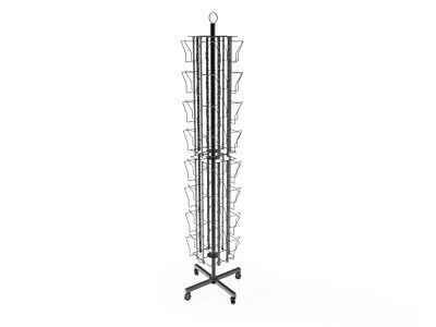 """Up to 8.5"""" Wide 24-Pocket Adjustable Display Rack Double Tier Spinning Stand"""