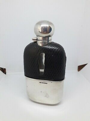 Antique Victorian Sterling Silver, Glass And Leather Hip Flask Possibly Masonic
