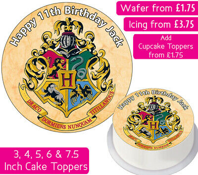 Hogwarts Edible Wafer & Icing Personalised Cake Toppers Birthday Harry Potter