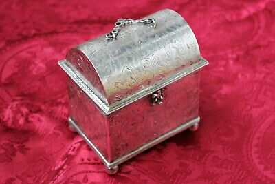 Antique sterling silver box   fine Dutch marriage casket knottekistje 374gr