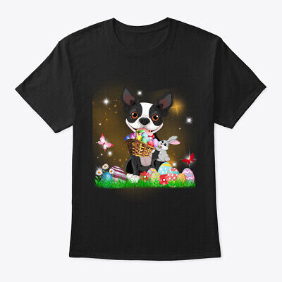 Boston Terrier Dog Bunny Easter Day Hanes Tagless Tee T-Shirt