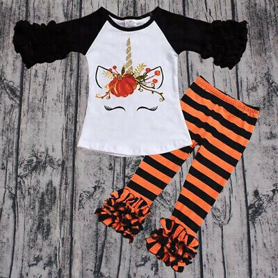Toddler Kids Baby Girl Outfits Clothes T-shirt Tops Dress+Striped Pants 2PCS Set