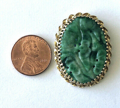 14K Solid Yellow Gold Natural Green Carved Jade Beautiful Asian Pendant