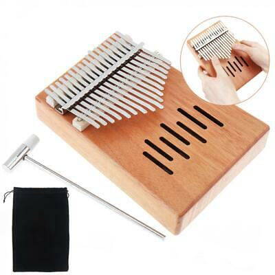 17 Key Kalimba Single Board Mahogany Mbira Mini Keyboard Instrument Natural Wood
