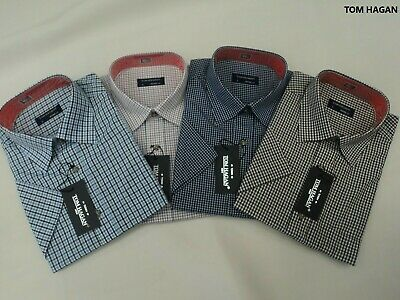 Mens Checked Casual Shirt Tom Hagan Short Sleeves Yarn Dyed From Size M-XXL