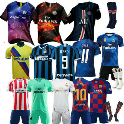 Custom Football Outfit Strips Youth Soccer Suits &Training Jerseys Kits For Kids