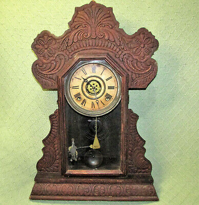 Antique INGRAHAM MANTLE CLOCK Gingerbread Style WOODEN with KEY FUNCTIONAL Vtg