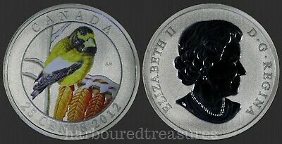 2012 CANADA Evening Grosbeak 25 Cent Coin Coloured Coin in Capsule with COA