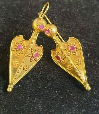 Fine Antique Solid Gold 22K Egyptian Revival LEAF / ARROW  RUBY Amulet Earrings